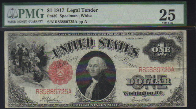 1917 $1 USA LEGAL TENDER speelman/white PMG25