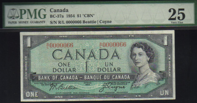 1954 $1 bank of canada  LOW SERIAL #66 PMG 25