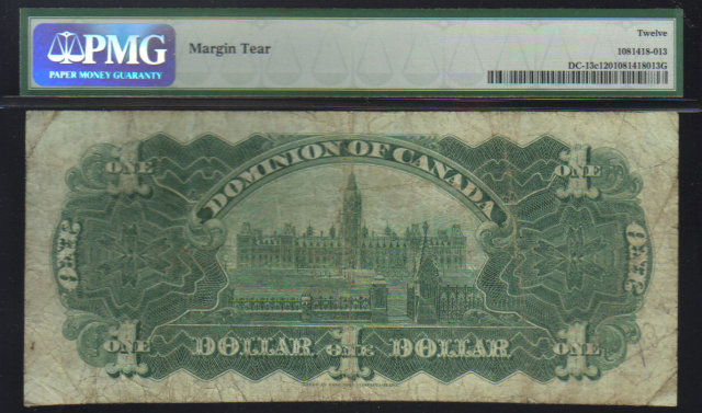 1898 $1 OUTWARD ones DOMINION OF CANADA  PMG 12