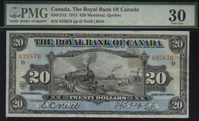 1913  $20 the Royal Bank of Canada TRAIN  PMG