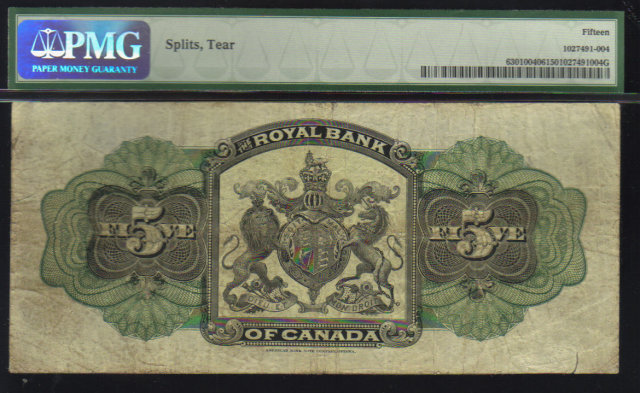 1909  $5 ROYAL BANK OF Canada  ,papermoney