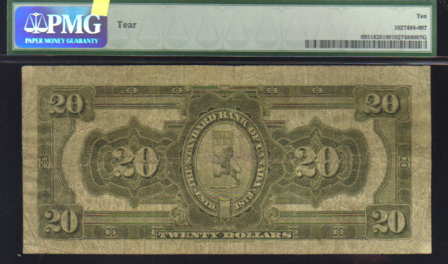 1919 $20 STANDARD BANK  OF CANADA $20 PMG 10