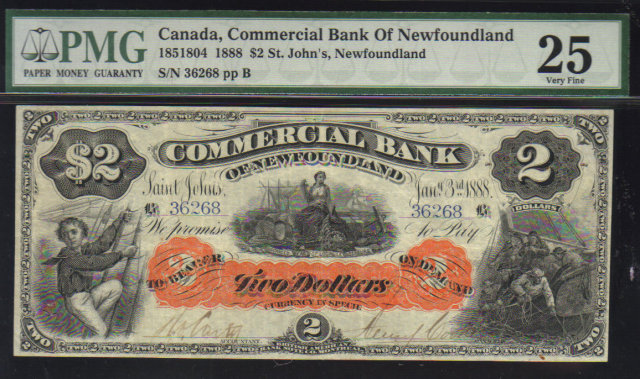 1888 $2 COMMERCIAL BANK OF NEWFOUNDLAND PMG 25