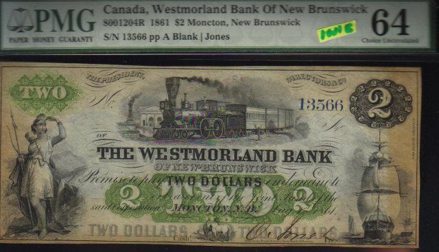 1861 $2 WESTMORLAND BANK OF NEWBRUNSWICK PMG 64