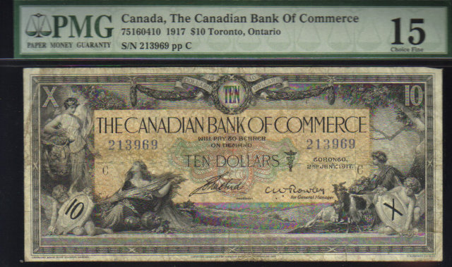 1917 Canadian Bank of Commerce $10 rare ROWLEY