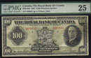 1927 $100 THE ROYAL BANK OF CANADA   PMG VF 25