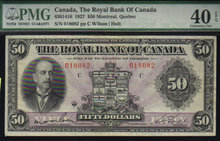 1927 $50 THE ROYAL BANK OF CANADA   PMG EF 40