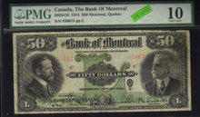 1914 $50 BANK OF MONTREAL ,quebec ,CANADA PMG