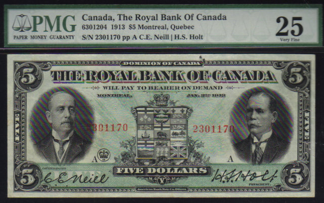 1913 $5  THE ROYAL BANK OF CANADA   PMG VF 25