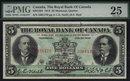 1913 $5  THE ROYAL BANK OF CANADA   PMG VF 25