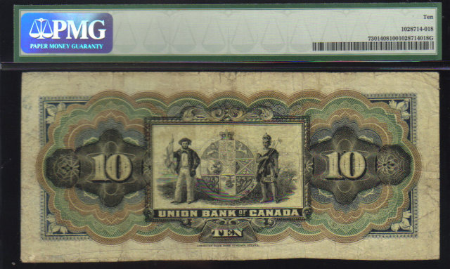 1907 $10  the UNION  BANK OF CANADA   PMG 10 rare QUEBEC issue PMG 10