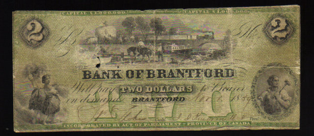 1859 bank of Brantford $2 scarce FRED WESTBROOK bicycle overprint