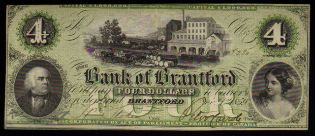 ONTARIO-Bank of Brantford $4 Nov. 1, 1859 Ch.