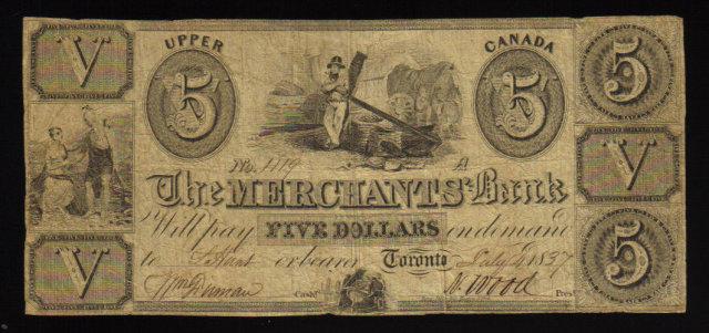 1837 $5 the merchants bank upper canada