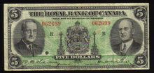 1943 Royal Bank of Canada $5 Very Fine