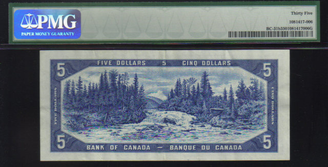 1954 $5 BANK OF CANADA DEVIL FACE PAPERMONEY PMG 35