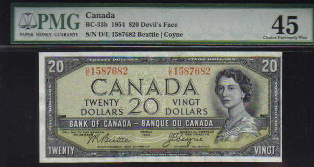 1954 $20 BANK OF CANADA DEVIL FACE PAPERMONEY PMG 45