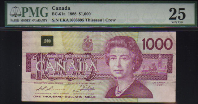 1988  $1000 BANK OF CANADA   scarce papermoney  PMG25