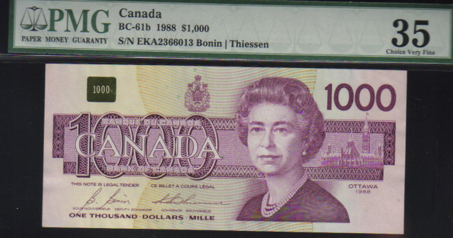 1988  $1000 BANK OF CANADA   scarce papermoney  PMG53