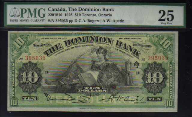 1925  $10 THE DOMINION BANK  PMG 25