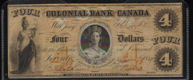 1859 $4 colonial bank of CANADA  queen victoria