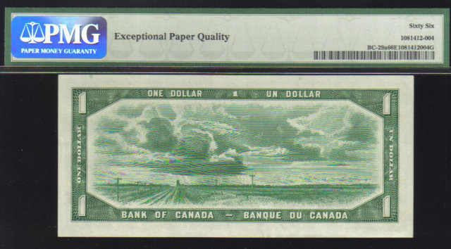 DEVILS FACE $1 BANK OF CANADA 1954 PMG 66 gem unc