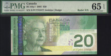 2 digit RADAR 7755577 $20  BANK OF CANADA 2005  PMG 65