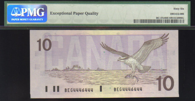 2 digit RADAR 4446444 $10  BANK OF CANADA 1989 PMG 66