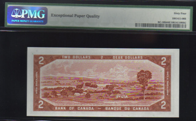 DEVILS FACE $2  BANK OF CANADA 1954 PMG 64  unc