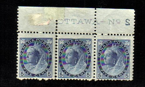 1899 5 cents 3 STAMPS queen victoria MNH canada RARE