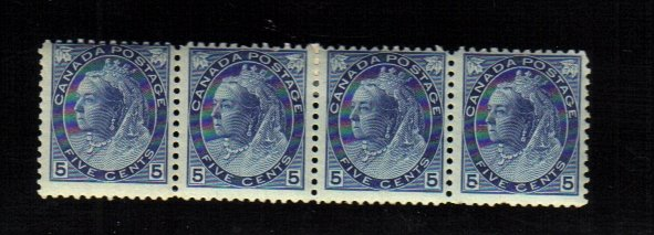 1899 5 cents 4 STAMPS queen victoria MNH/mh canada RARE