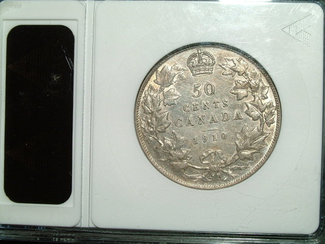 1910 canada 50 cents ANACS   AU 50 VICTORIAN LEAVES