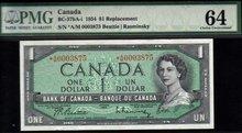 asterisk A/M BANK OF CANADA 1954 BC-37bA-i  PMG 64EPQ