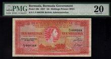 1957 10 shillings BERMUDA GOVERNMENT PMG20