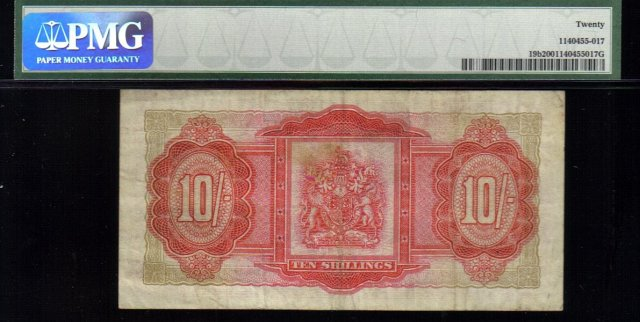 1957 10 shillings BERMUDA GOVERNMENT PMG20