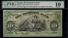 1910 $10 Dominion Bank LION and BEAVER bogert/osler