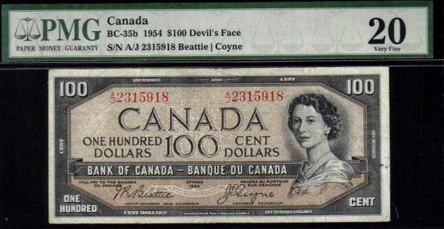 DEVILS FACE $100 BANK OF CANADA 1954 PMG 20