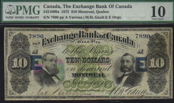 1872 $10 EXCHANGE BANK OF CANADA very  scarce