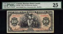 1935  $10 BARCLAYS BANK OF CANADA PMG 25