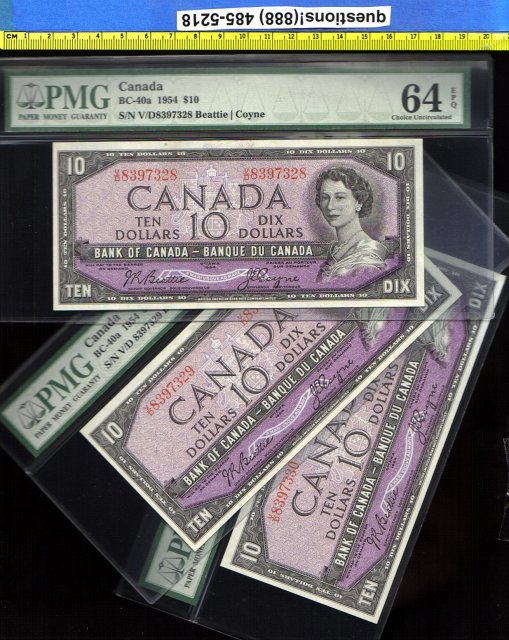 1954 BC-40a  3 consecutive UNCIRCULATED  $10  bank of canada   PMG 65