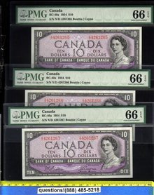PMG 66 1954 BC-40a  3 consecutive UNCIRCULATED  $10  bank of canada