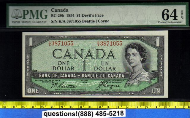 PMG 64 EPQ devils face $1 BANK OF CANADA 1954 BC-29b