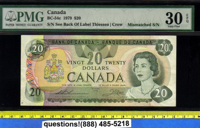 mismatched serial number  BANK OF CANADA 1979   $20
