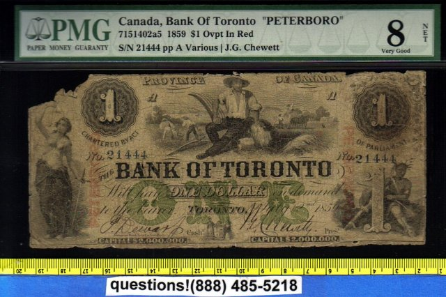 1859 $1 BANK OF TORONTO scarce PETERBORO overprint PMG certified
