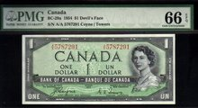 1954 $1 BANK OF CANADA  ONE DOLLAR DEVIL'S FACE PMG 66