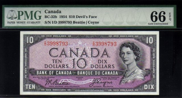 1954 $10 BANK OF CANADA  ONE DOLLAR DEVIL'S FACE PMG 66