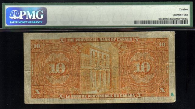 1935 $10 THE DOMINION BANK  PMG 53 amazing