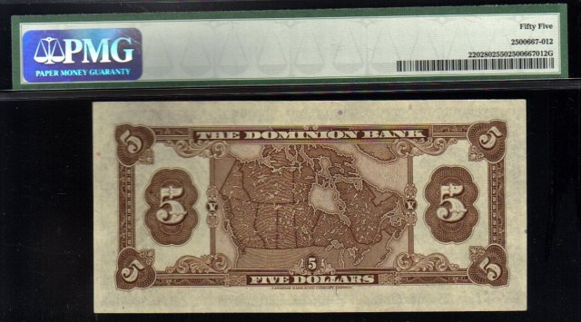 1938 $5 THE DOMINION BANK  PMG 55 amazing