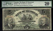 1904 $5 THE BANK of MONTREAL PMG 15 Whoa! amazing