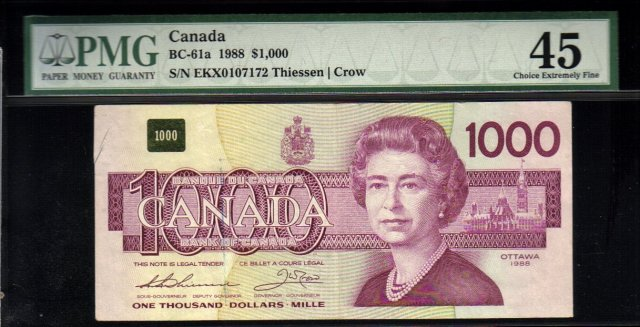 1988 $1000 BANK OF CANADA BC-61aA EKX replacement BANKNOTE